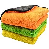 【吸水性抜群】AGK-AC 洗車用マイクロファイバークロス ふんわり しっかり 傷付けない 大判 厚手 速乾 洗車専用クロス3枚セット(三色×各1枚)(約45×約38cm)