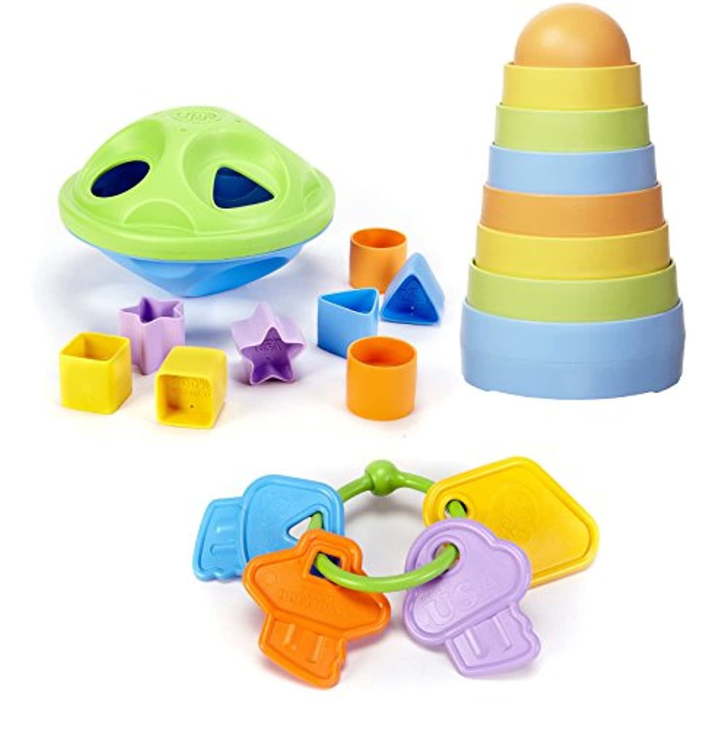 Green Toys Shape Sorter with Stacker & Teether Keys by Green Toys