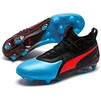 PUMA Men's ONE 19.1 FG/AG Football Boots, Bleu Azur-Red Blast-Puma Black