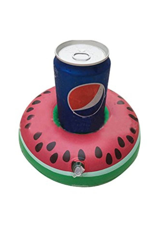 Lumierechat ドリンクホルダーカップホルダー 浮き輪 フラミンゴ ドーナツ プールコースター フロート (5個セット, スイカ)
