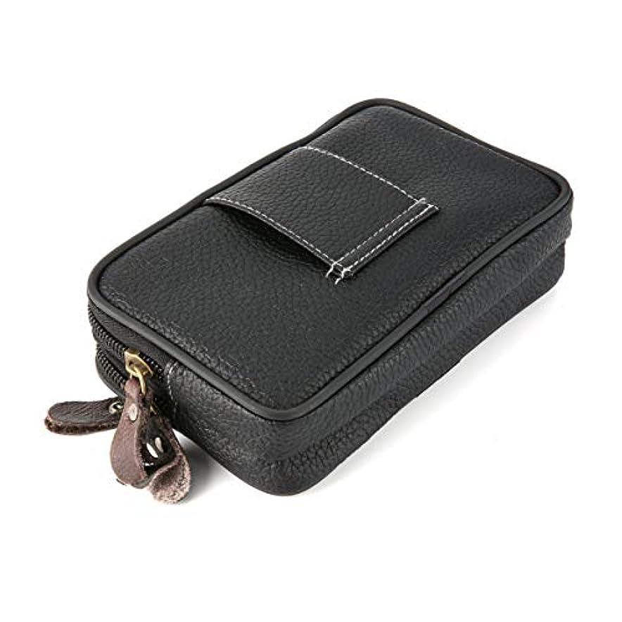 寛解ノート不可能な多機能ダブルレイヤーメンズジッパーウエストバッグトレンディな男性ソフトPUレザーマルチカードスロットウォレット電話バッグ-ブラック