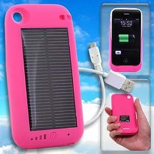 ソーラーハイブリッド充電ケース 大容量 2400mAh バッテリー solar charge jacket-i(ピンク)[iPhone 3G/3GS 専用]