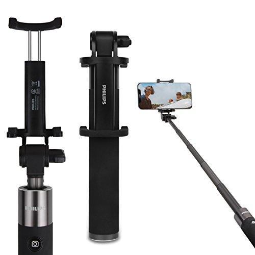 PHILIPS 自撮り棒 セルカ棒 シャッターボタン付き Bluetooth 無線タイプ iPhone / Android 対応 伸縮自在 DLK36001 (ブラック)