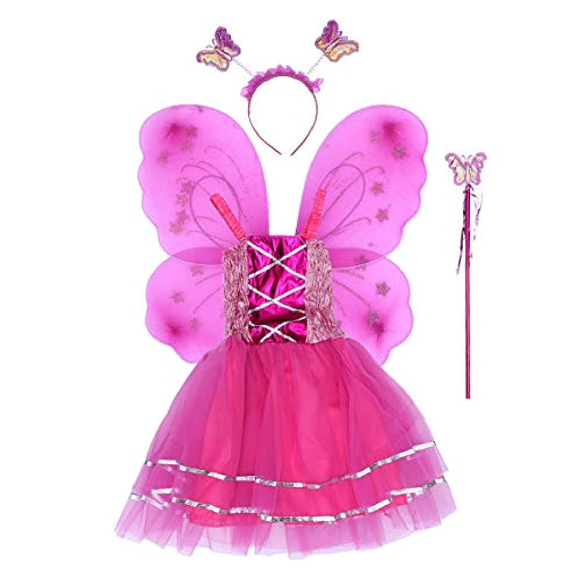 カルシウム形成年次BESTOYARD 4個の女の子バタフライプリンセス妖精のコスチュームセットバタフライウィング、ワンド、ヘッドバンドとツツードレス(ロージー)