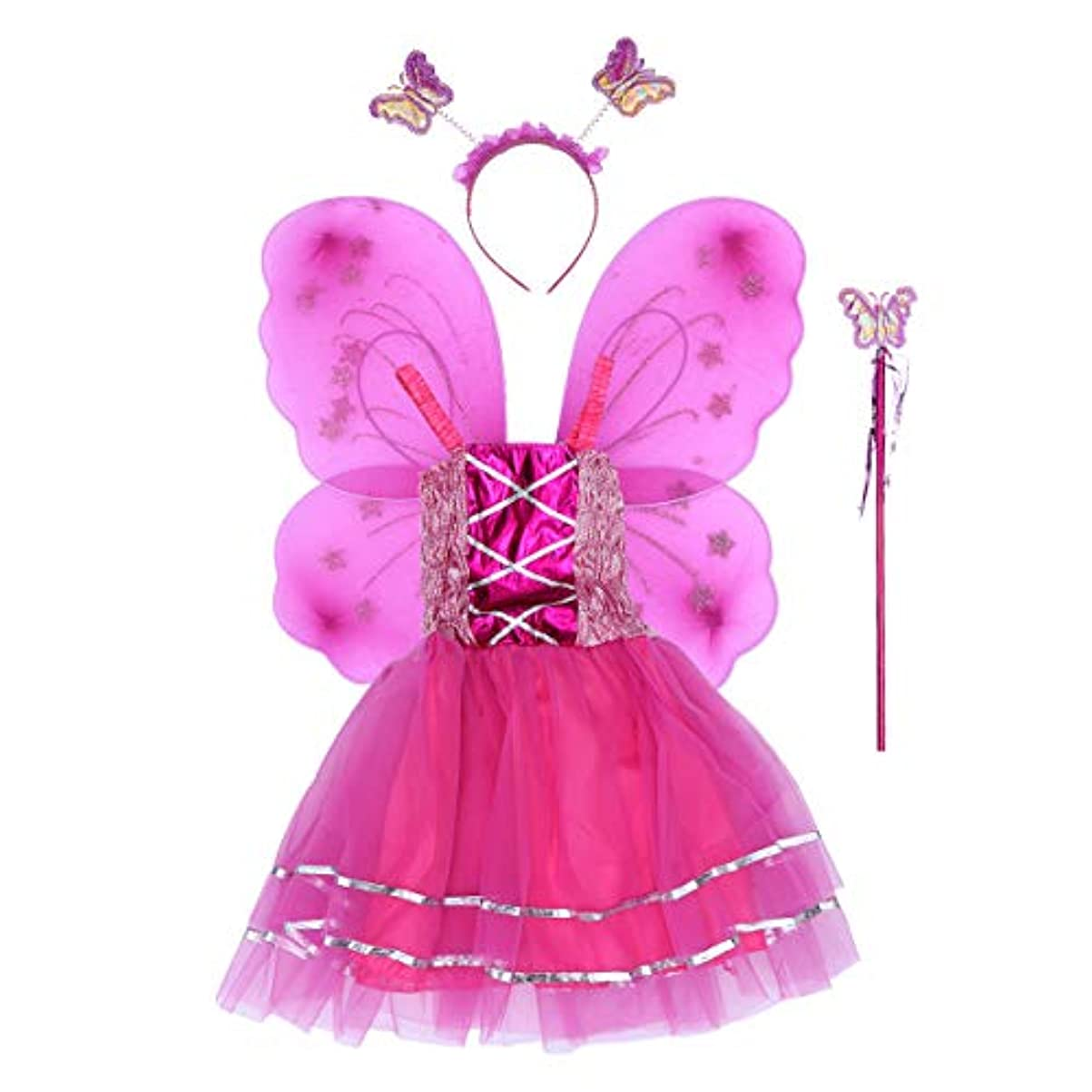 プレビスサイト思い出させるドールBESTOYARD 4個の女の子バタフライプリンセス妖精のコスチュームセットバタフライウィング、ワンド、ヘッドバンドとツツードレス(ロージー)