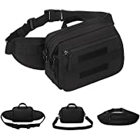 WOTOW Tactical Waist Pack, Multi Functional Single Shoulder Hip Belt Fashion Fanny Pack Army Waist Pouch Bag withMilitary Molle System for Man Woman Hiking Hunting Shopping Daily Walking Cycling