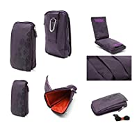 DFV mobile - Multi-functional Universal Vertical Stripes Pouch Bag Case Zipper Closing Carabiner for => TENGDA MINI S5 > PURPLE (16 x 9.5 cm)
