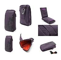 DFV mobile - 多機能縦ストライプ ポーチ バッグ ケース ジッパーのカラビナを閉じる => Samsung Galaxy Star Trios S5283 > 紫 (16 x 9.5 cm)