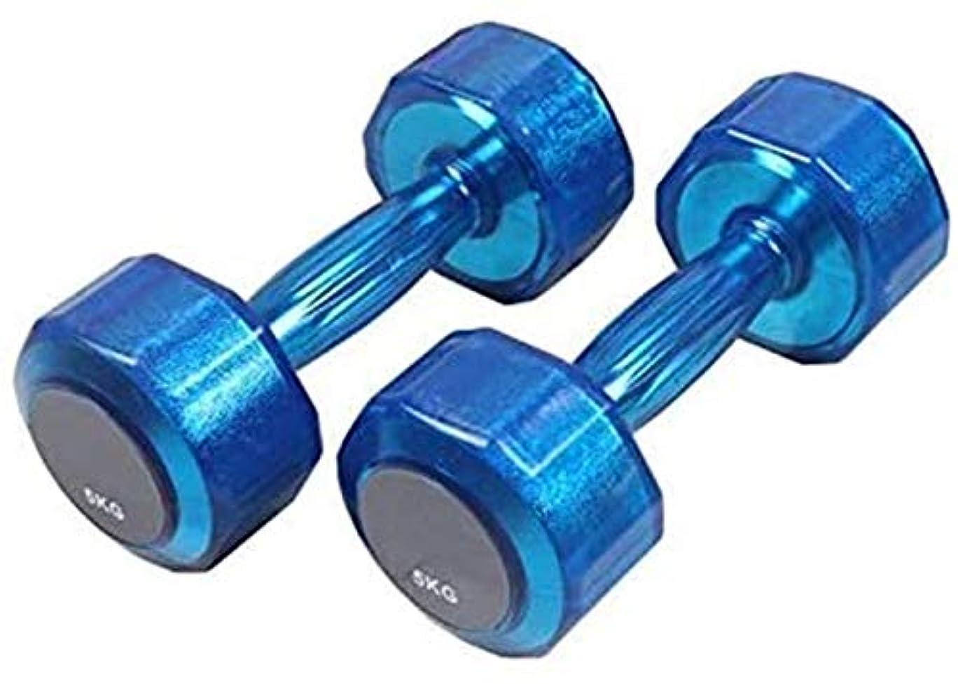 免除正確ゴルフ強度のトレーニングフィットネスジム用の金属のハンドル重量ダンベルフィットネスダンベルの六角ダンベルエクササイズ (Color : Blue, Size : 1KGX2)