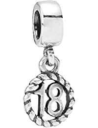PANDORA Charms Silver Number 18 Dangle Charm