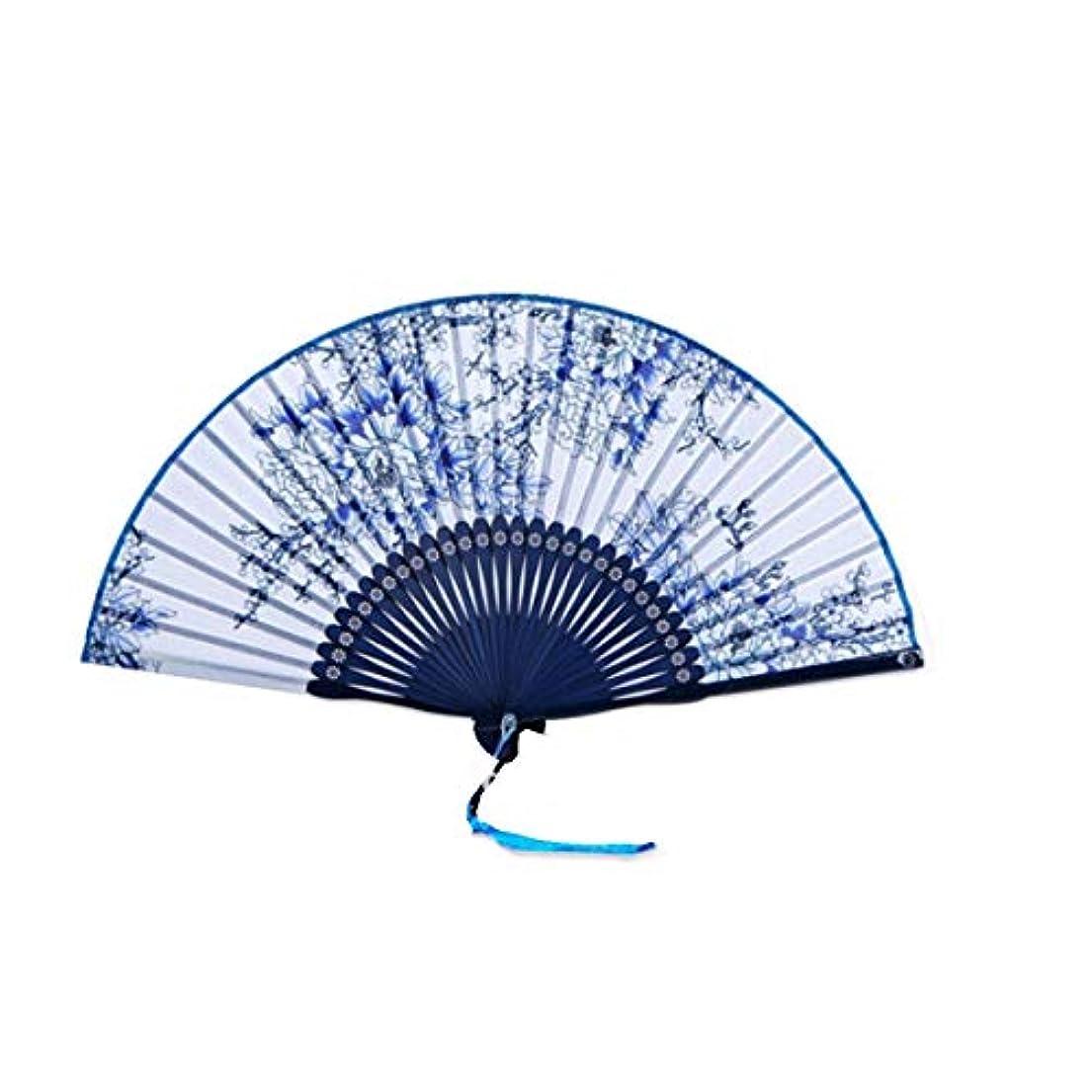 彼女は同様のハイランドKATH ファン、中国のスタイル青と白の磁器扇子、