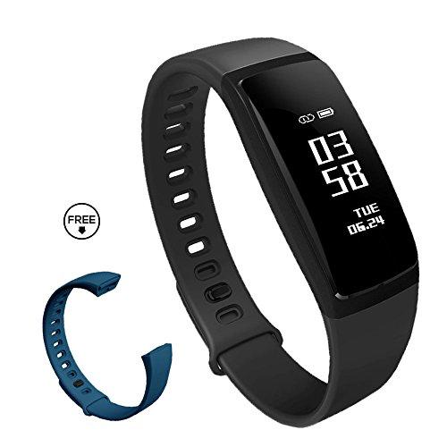 スマートウォッチ 活動量計 心拍計 血圧 歩数計 スマートブレスレット IP67防水 着信 Line SMS 通知 心拍異常 アラーム 日本語説明書 (ブラック+ブルーベルト)