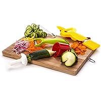スライサピーラーコンボセット – Spiral Slicer、プレミアム品質クロムスチール、デュアルブレード – フルーツ/野菜皮むき器