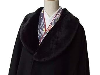 ウール混ポンチョコート 衿ファー付き wko235hap