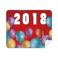 2018バルーンYear of the Dog Happy New Year電話画面クリーナーメガネクリーニングクロス2pcsスエードファブリック