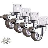 """4 Pack 1"""" Caster Wheels Swivel L-Type Mounting Plate w/Break Casters On Black Polyurethane Wheels Heavy Duty - 100 lbs Total"""