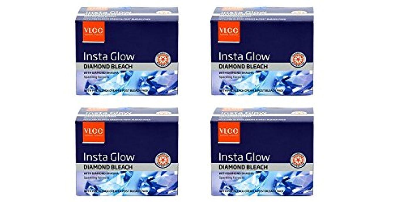 独裁アサー鋸歯状Pack of 4 - VLCC Insta Glow Diamond Bleach With diamond bhasma Sparkling fairness With pre bleach cream & post bleach pack - 30g