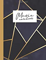 Music notebook: wide staff manuscript paper | 8.5x11 | 120 pages | 8 staves per page | easy to write on | dark navy blue with gold geometric stripes | perfect for students, musicians and composers