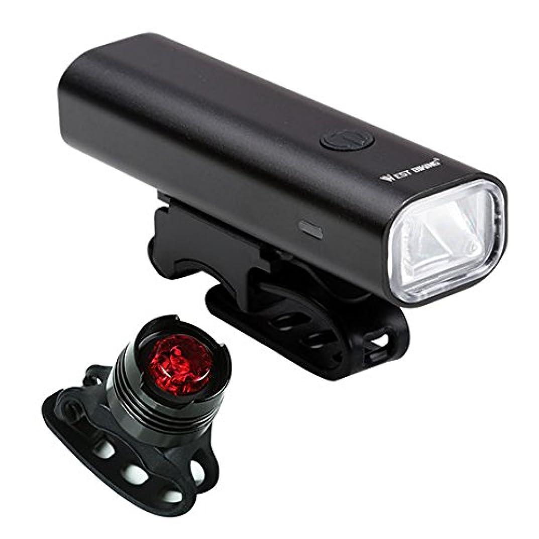 かんたん実際ボルト西 サイクリングプロフェッショナルバイクライト 防水 200 ルーメン usb 充電式高輝度 ヘッドランプでwarnning テールライトサイクリングライト