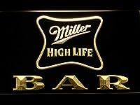 Miller High Life Bar LED看板 ネオンサイン ライト 電飾 広告用標識 W40cm x H30cm イエロー