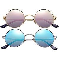 2-Pack Retro Small Round Polarized Sunglasses for Women Men John Lennon Style Circle Hippie Glasses