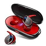 bluetooth イヤホン 両耳 片耳 高音質 自動ペアリング マイク内蔵 IPX6防水 左右分離型 Bluetooth5.0 ワイヤレス イヤホン 軽量 ブルートゥース イヤフォン 日本語音声提示 iPhone/Android対応 (レッド)