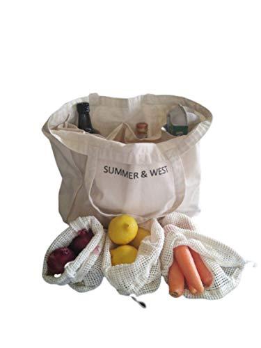 Eco Friendly Shopping Bag Set - Large Canvas Farmers Market Bag - Includes 5 Cotton Mesh Produce Bags - Canvas Tote - Organic Cotton - Zero Waste