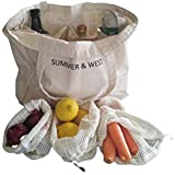 SUMMER & WEST Eco Friendly Shopping Bag Set - 1 Large Canvas Farmers Market Bag plus 5 Reusable Cotton Mesh Produce Bags - Your Complete 6 Piece Grocery Shopping Set - Zero Waste Starter Set - Made From Machine Washable Organic Cotton.
