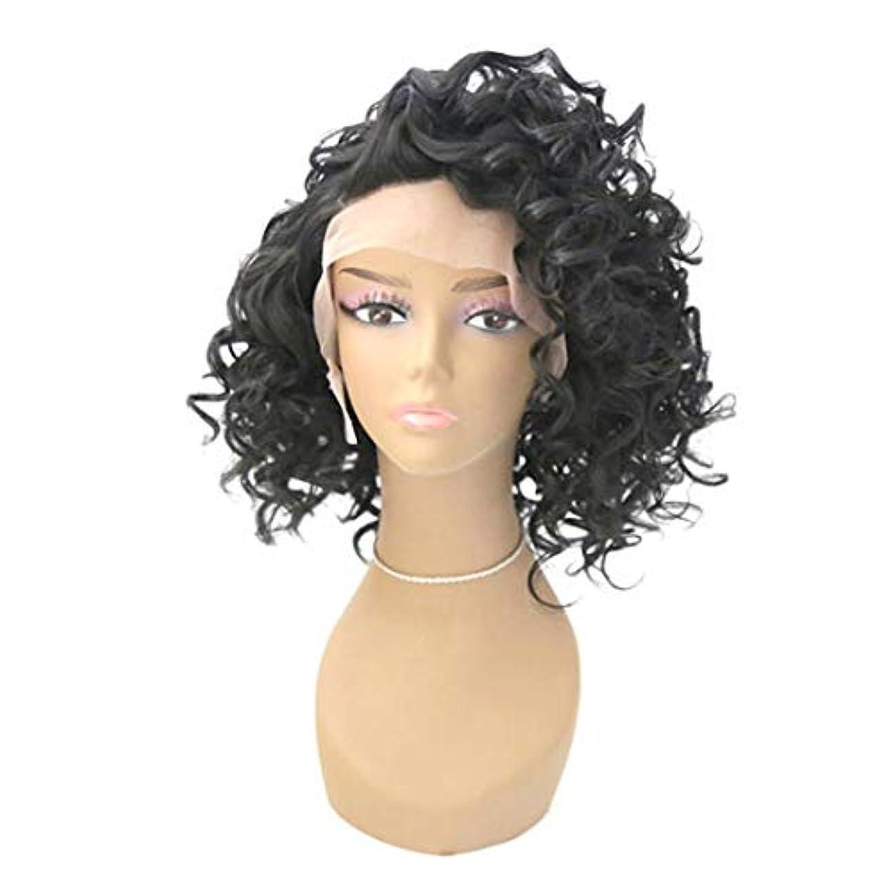 しないでくださいほめるミシン目Kerwinner 合成かつらレースフロントかつら赤ん坊の毛髪自然な生え際耐熱ファイバーレースかつらで長い緩い巻き毛かつら女性のための自然な黒のかつら (Size : 24inch)