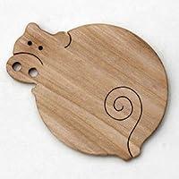 ●くれないの豚 (遊び心いっぱいの木のコースター 木のおもちゃ)木育