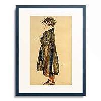 エゴン・シーレ Egon Schiele 「Halbwuchsiges Bauernmadchen, stehend links, 1912.」 額装アート作品
