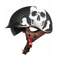 TiMi バイクヘルメット ハーフヘルメット半キャップヘルメット T112 シールド 男女兼用 かっこいい 12色可選 黒キラー (XXL)