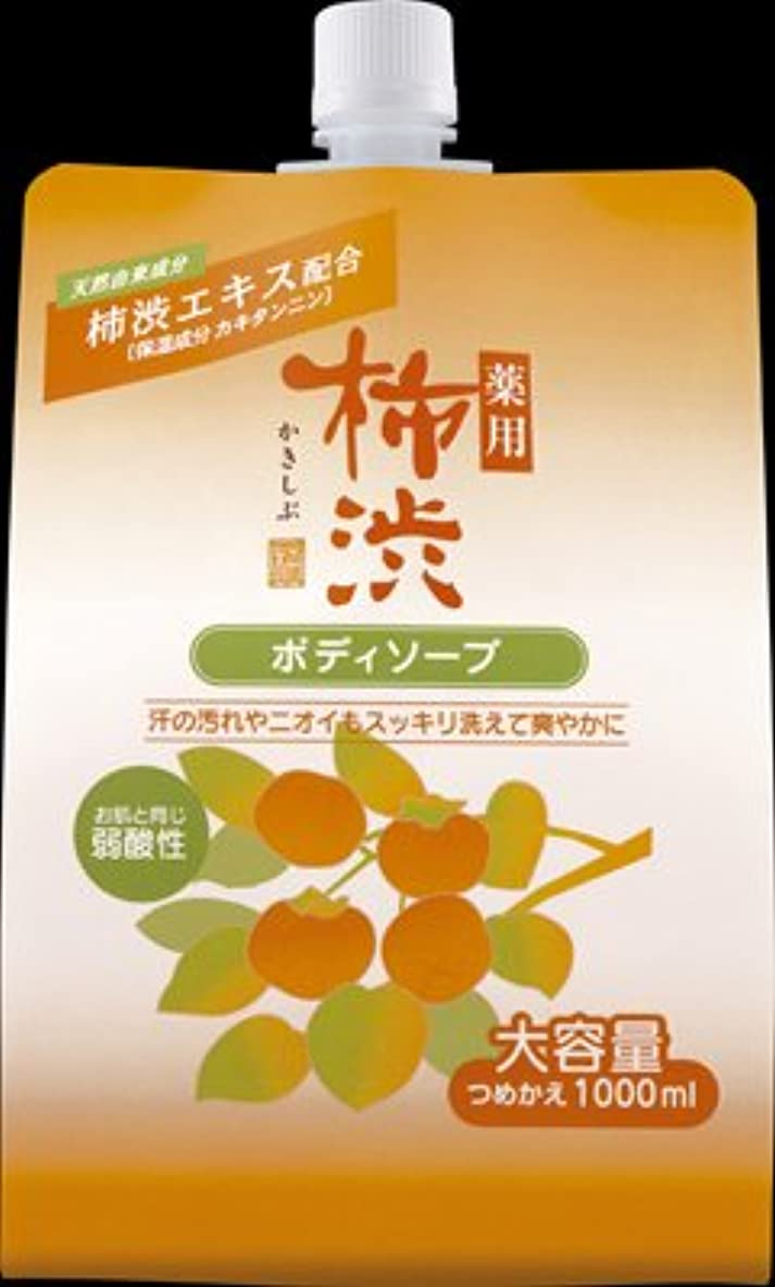 降臨宝勃起熊野油脂 薬用柿渋ボディソープ 1000ML つめかえ用×10点セット