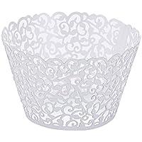 FenBuGu-JP 興味深い 真珠の紙のブドウのレースのカップケーキ線条体芸術的なベーキングケーキ紙の供給白