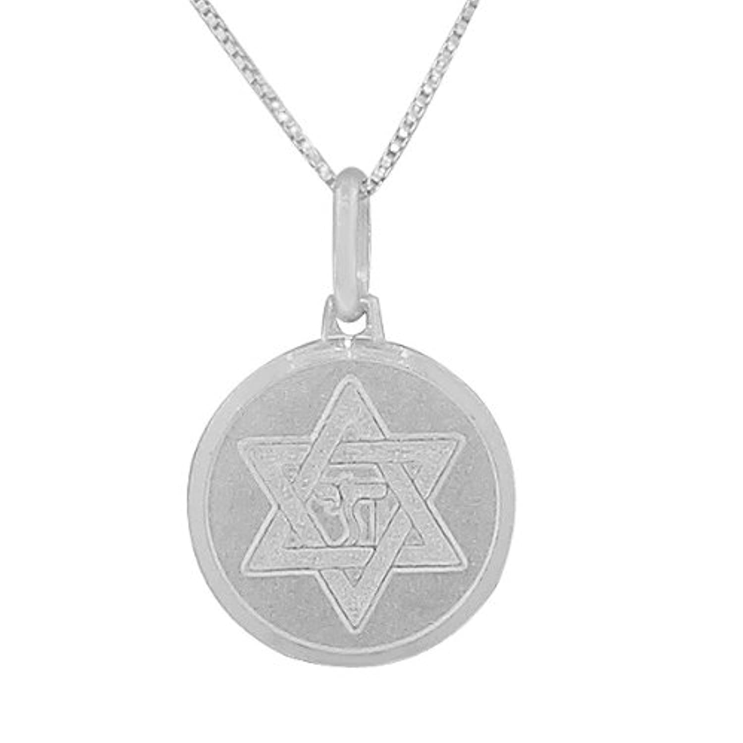 925 Sterling Silver Jewish Star of David Chai Unisex Pendant Necklace with Chain