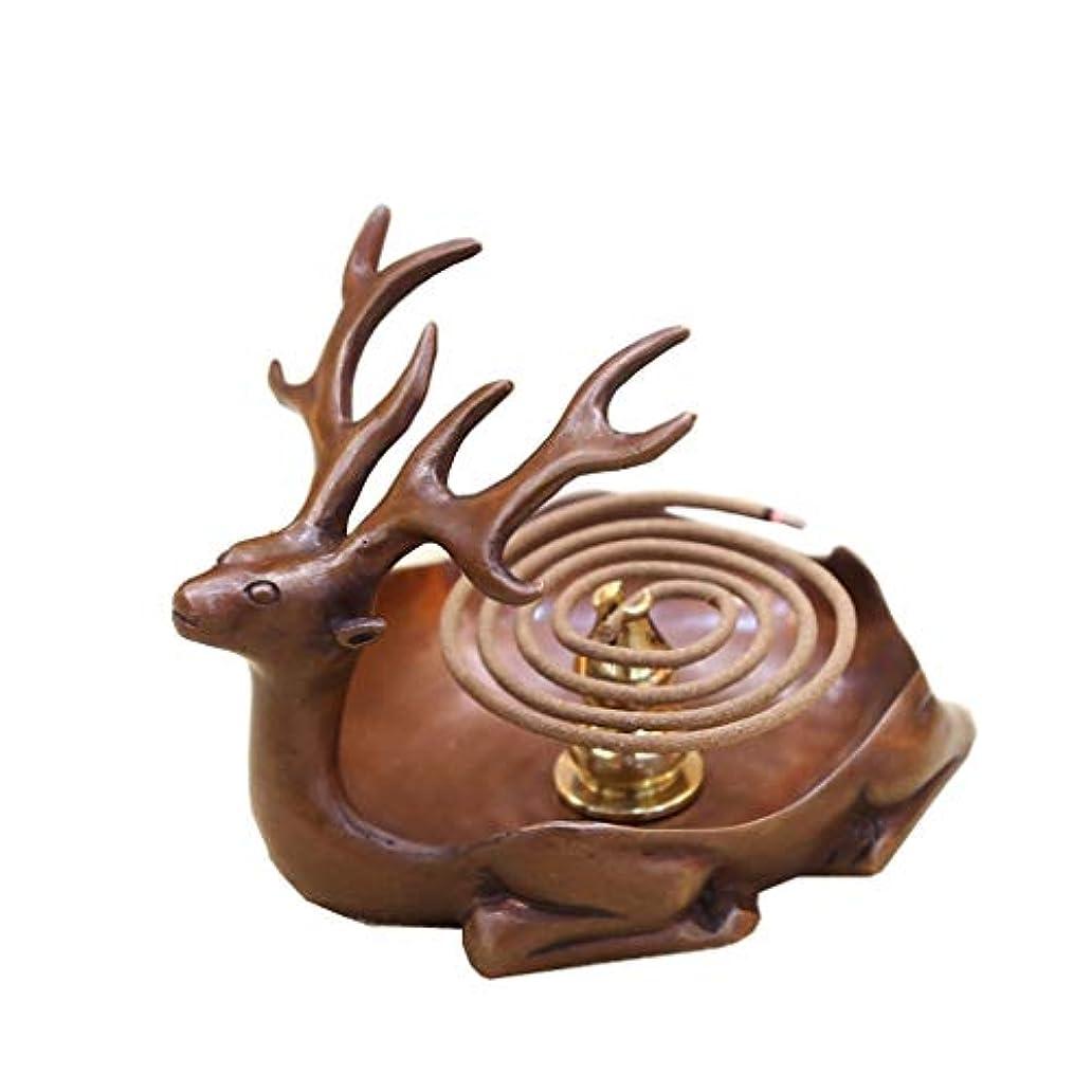 チューリップベーコンスクラッチホームアロマバーナー 純粋な銅アンティーク子鹿香バーナーホーム屋内香ビャクダン茶セレモニー香バーナー装飾 アロマバーナー (Color : Brown)