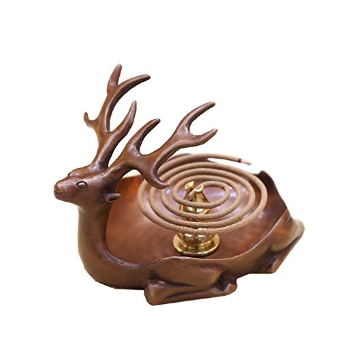 優しい不実ポスト印象派ホームアロマバーナー 純粋な銅アンティーク子鹿香バーナーホーム屋内香ビャクダン茶セレモニー香バーナー装飾 アロマバーナー (Color : Brown)