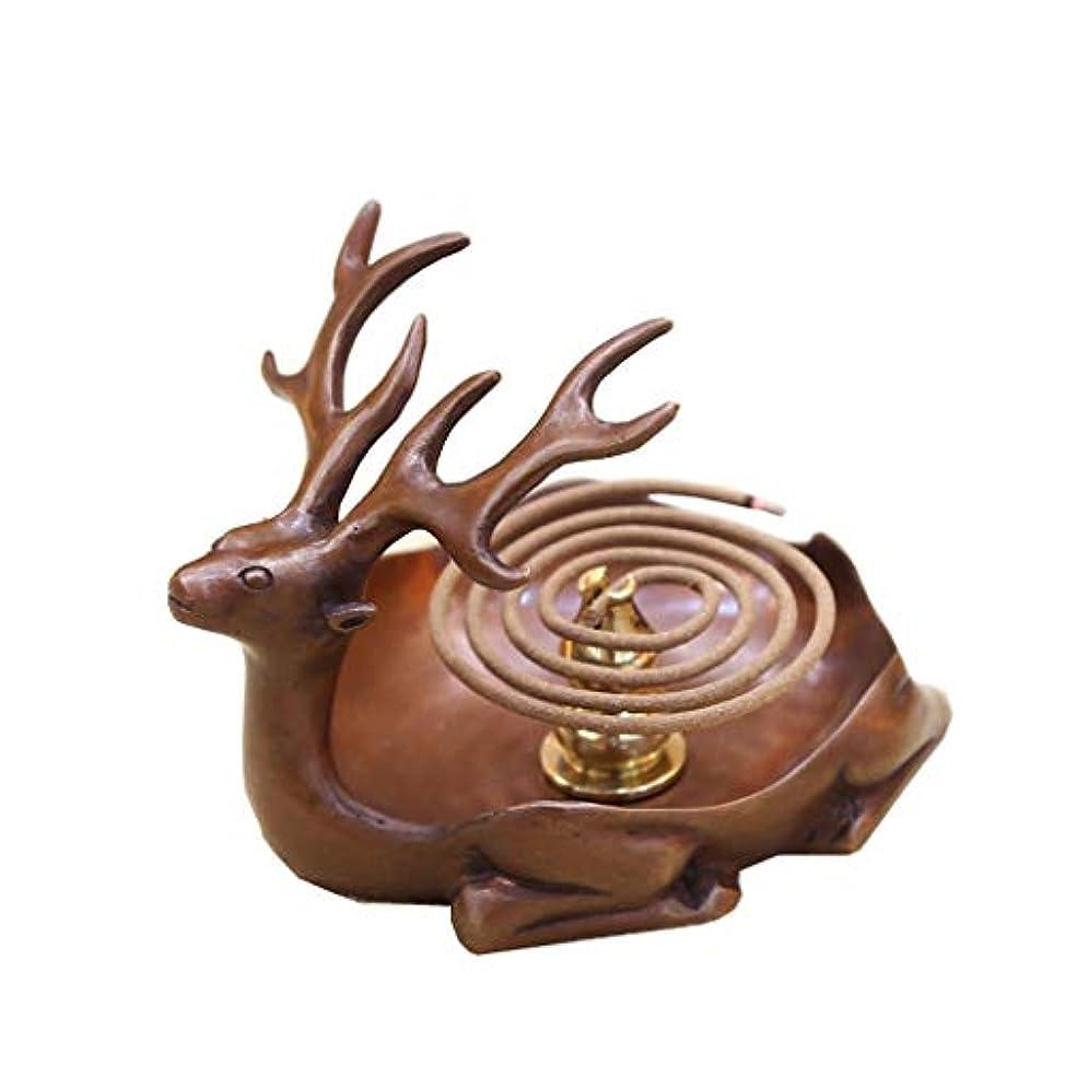 ホームアロマバーナー 純粋な銅アンティーク子鹿香バーナーホーム屋内香ビャクダン茶セレモニー香バーナー装飾 アロマバーナー (Color : Brown)