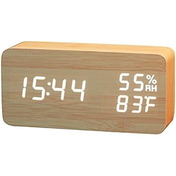 SOFER(ソフェル) 木目 デジタル置き時計 LED目覚まし時計 時間・日付表示 温度・湿度表示 音声感知機能付き 三段階光度調節可能 USB充電器・乾電池両用 おしゃれ インテリア 木製目覚まし時計 C1 木目 茶色
