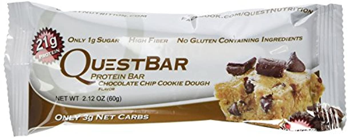 推論畝間努力するQuest Nutrition プロテインバー チョコチップクッキー生地 Chocolate Chip Cookie Dough 24本セット 【並行輸入品】