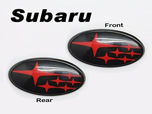 (2) スバル・インプレッサWRX STI2015年式以降には、フロント & リヤ用のグロッシーブラック(光沢のある黒地)に赤星のインサート・バッジ・エンブレム