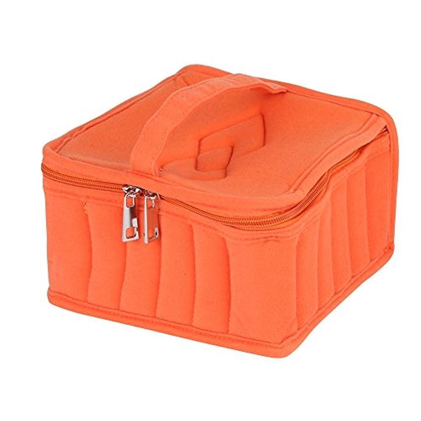 フック類人猿ポーチ2色5スロット精油ケース旅行オーガナイザー用5ミリリットル/ 10ミリリットル/ 15ミリリットルボトル収納バッグ(オレンジ)