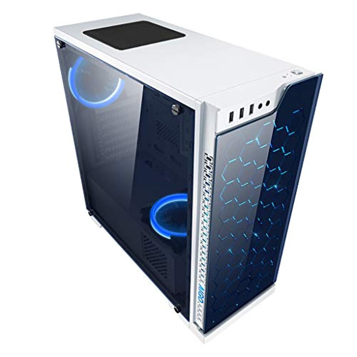 起こる皮肉ダムXZ15 ゲームコンピュータケース、Mid-Tower、ATX/MICRO ATX、USB3.0および4x120MM冷却システム、強化ガラス、白をサポート (Color : White)