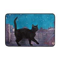 黒い猫屋根の夜の滑り止めのドアのマットの家の装飾の上を歩く、耐久性のある屋内屋外エントランスのドアマット23.6 x 15.7インチ(40 x 60 cm)
