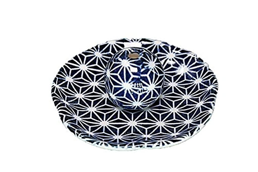 熟考する筋近傍青色麻葉 花形 香皿 お香立て 日本製 直売品 お香たて