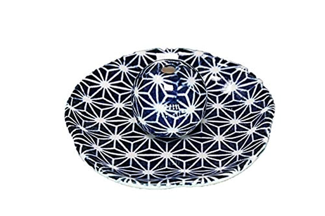 貨物飾り羽樹皮青色麻葉 花形 香皿 お香立て 日本製 直売品 お香たて