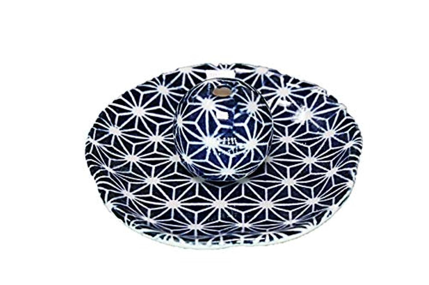 隣人難民メタリック青色麻葉 花形 香皿 お香立て 日本製 直売品 お香たて