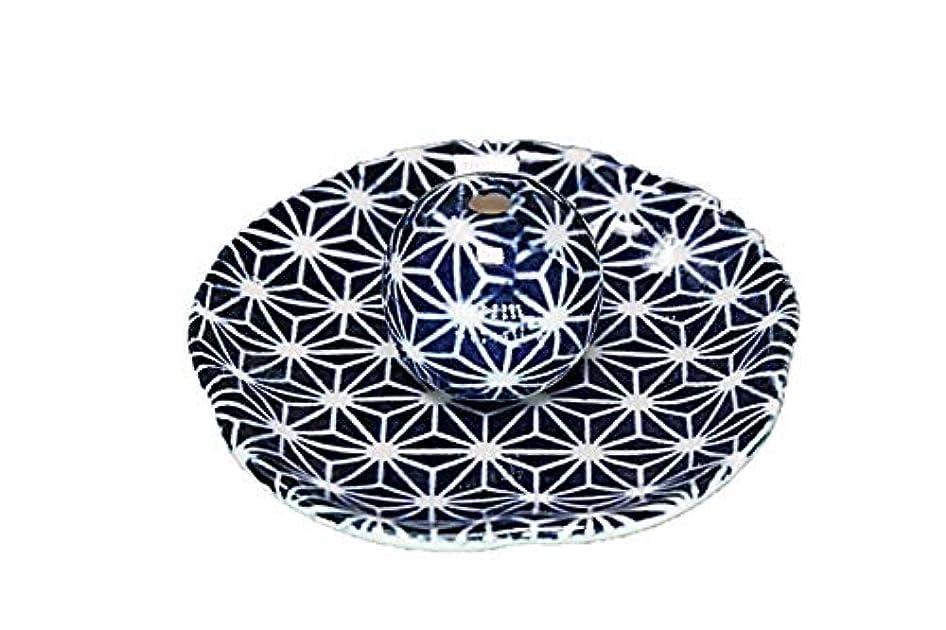 蒸気ソーダ水心理的に青色麻葉 花形 香皿 お香立て 日本製 直売品 お香たて