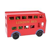 おもちゃ木造赤二重層ロンドンバス教育減圧子供アセンブリビルディングブロック 35.8 * 22.3 センチメートル