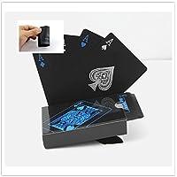 防水トランプカード、ピュアカラーブラックポーカーカードクラシックマジックトリックツールプラスチックPoker
